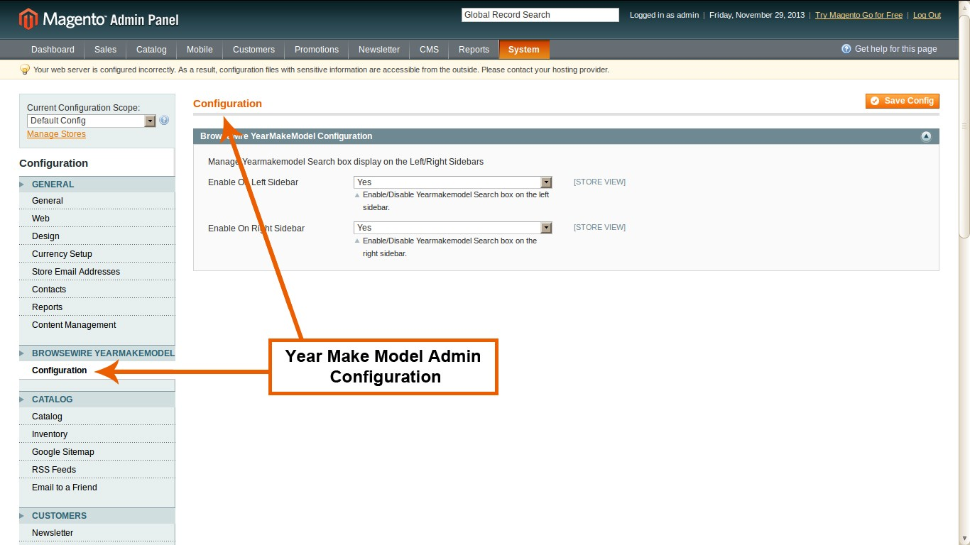 year make model admin configuration