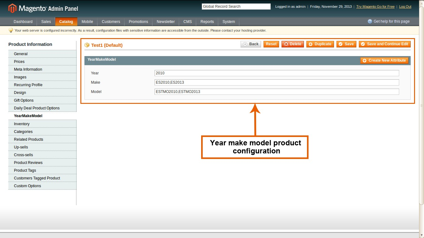 year make model product configuration